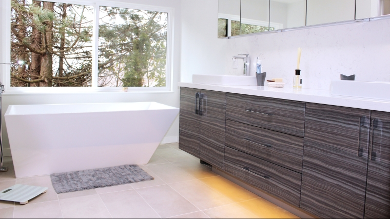 Bathroom Vanity and Quartz Backsplash