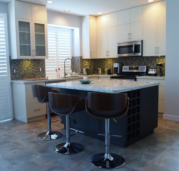 Custom White Kitchen with Wine Cabinet