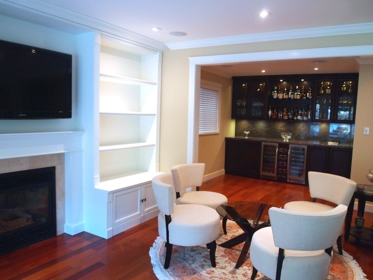 Custom White Entertainment Center & Dark Brown Bar Cabinets